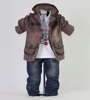 Wholesale 2012 New Autumn Brown Kids Clothes Set Boys Suit and T Shirt and Jeans Whosale Clothing