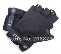 Wholesale 5 Mens Military Combat Fingerless Sports Gloves Black