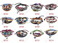 Wholesale Leather Bracelet Hot Sale Mixed Leather Bracelets Fashion Jewelry B703 B714M