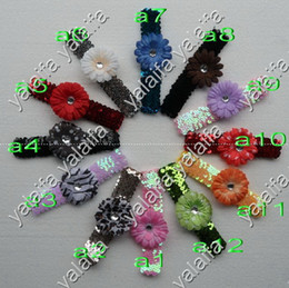 Wholesale 96pcs Inch Sequin Headbands Inch Daisies Flower Hair Clips Gerber Flower CHA17