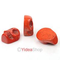 Wholesale 72pcs Fashion Orange Skull Shaped Ring Face Turquoise Gemstone cabochon Fit Pendants Tray DIY