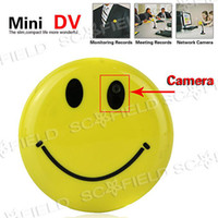Wholesale Originality Smile Face Pin Mini Digital Video Recorder Spy Camera MP3 with TV Out High Quality
