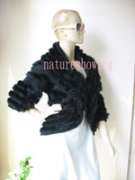 Wholesale real rabbit knitted rabbit fur vest outwear BLACK