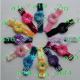 Wholesale 24pcs Inch Sequin Headbands Inch Daisies Flower Hair Clips Flower CHA19