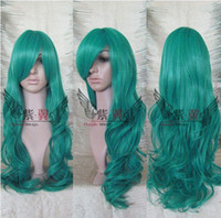 Wholesale Nel Tu Sailor Neptune extra long Dark Green Full Lac curly Cosplay Wig hair