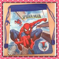 Wholesale Spider man backpack drawstring bag Children kid drawstring backpack school bags Non woven34 CM