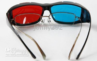 Wholesale Red blue D Vision Glasses with Full Black Frame for D movie D game D TV