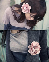 Wholesale 10pcs quot Mix colors Fabric Lady Satin Peony Flower Hair Clips Brooch Bridal Wedding Hawaii Party