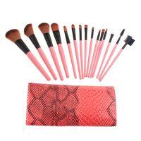 rolling bag - 15PCS Makeup Brushes Set Professional make up brushes kits with Roll up Snake Pattern Bag H8529