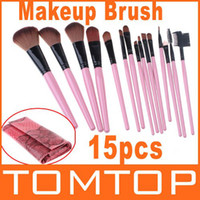 Wholesale 15PCS Makeup Brushes Set Professional make up brushes kits with Roll up Snake Pattern Bag H8529