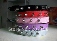Wholesale Whosale pit bull multiclor spiked studded leather pet dog collar for small Bulldog do