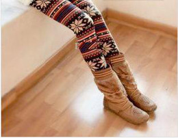 Wholesale One Size Knitted Colorful Crystal Pattern Leggings Tights Pants Dry Acrylic