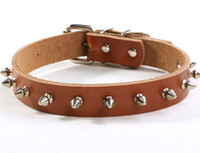 Wholesale quot quot spiked Genuine leather dog collar pet collar