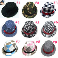 Wholesale Baby Fedoras Children Canvas Fedora Hat Jazz Cap Kids Top Hat Dicers Children Headgear BH082A