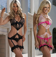Chemise Lace Applique Sexy Woman Lingerie Teddy Leg Flowers G-string Underpants Lace Trench Beaded Garter Belt J1576 1pcs