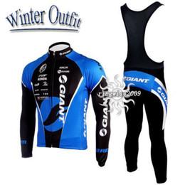 Winter Fleece Thermal 2010 GIANT Long Sleeve BlackBlue Cycling Jersey + Bib Pants GA23