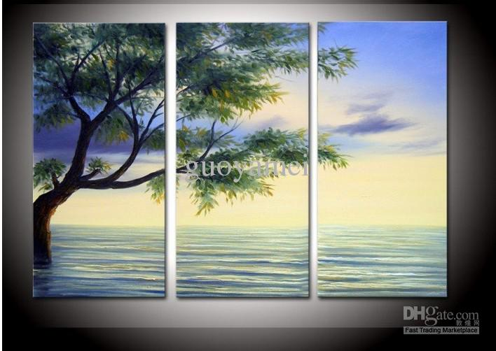 hand painted water tree high wall decor modern landscape oil, Home designs