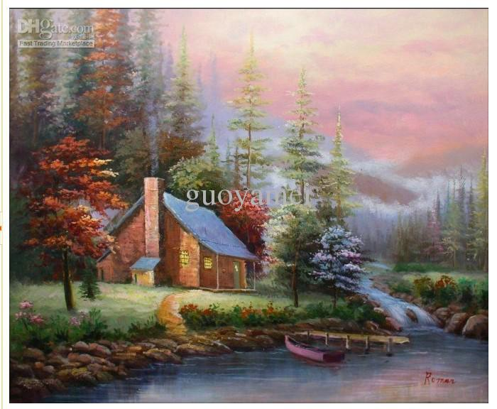 Hand Painted Wall Art hand-painted wall art winter forest lake house boat home