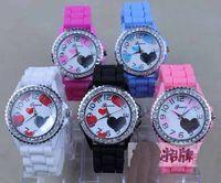 Fashion cheap children watches - hot cheap children Watch Geneva Heart Printing Silicone Lover Women Rhinestone Diamond candy Watches