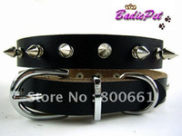 Wholesale MOQ mix colors Satisfaction Guarantee Genuine Leather Spiked Dog Collar