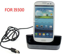 Wholesale 30pcs USB Sync Docking Station Cradle Stand Charger Holder for S3 SIII i9300 by dhl