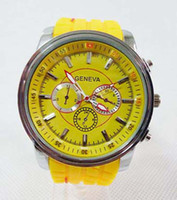 Wholesale new fashion womens sport candy mens three eyes geneva Silicone jelly Watches design kids wrist Watch