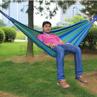 Wholesale Camping Camp Outdoor Travel Leisure Thick Canvas Striped Hammock Single Person