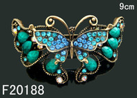 wholesale hair barrettes - hot sell Vintage zinc alloy rhinestone Butterfly hair clip Barrettes Hair Accessories mixed color F20188