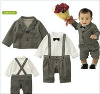 Wholesale Autumn winter Baby Clthing Sets Baby Western style Coat Rompers Boy gentleman Suits Baby s Wear