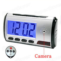 Wholesale DHL Free Spy Hidden Camera Clock Maga With Remote Control Continue Recording Over Hours