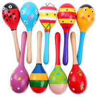 Wholesale Colorful baby wooden rattle musical toys cute cartoon mini wooden sand hammer baby toys