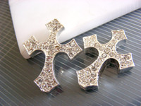 Wholesale Metal Silver Plated With Clear Crystal Rhinestone Sideways Cross Bracelet Connector