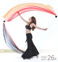 Belly Dance Veil Poi 1 SET = 2 Veils + 2 Poi Chains Multicol...