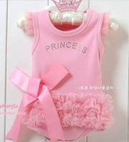 Girl 1-3years 80-90-95 The lovely princess pink bow lace triangle baby Romper, climbing clothes ,Wholesale and retail
