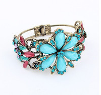 Wholesale Diamond flower vine wide bracelet