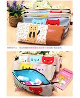 Wholesale 15 Hot Cartoon Stripe Cats Pen Pouch Bag Pencil Case