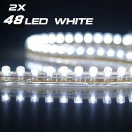 48cm 48 White LED Flexible Car Neon Strip Light 12V 2PCS