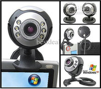 Wholesale DHL Mega USB LED Webcam Web Cam Camera with Micphone for PC Laptop Computer w n Retail Box