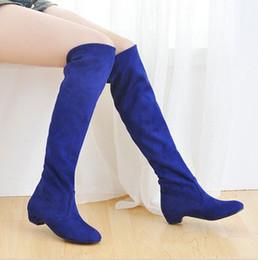 Wholesale New Hot Sale fashion elegant stretch nubuck female riding large size long boots EU34