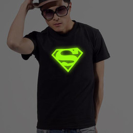 Wholesale 2012 NEW Luminous T shirt Fashion Shine T shirt Superman short sleeves pure cotton RC TL812A