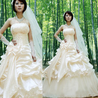 Wholesale Hot Sale New Lace up Bowknot Wedding Dress Beading Bridal Gown