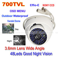 Wholesale 700TVL SONY CCD Effio E LED OSD MENU CCTV Vandal White Dome Camera Wide Angle