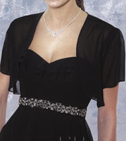 Wholesale On Sale off bridal accessories black chiffon short sleeve bridal jacket bolero mini wraps J073