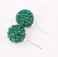 Wholesale Shinny mm Disco Crystal Beads Studs pair Best Choice silver Jewelry Earrings