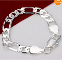 Wholesale Fashion hot sale Men s jewelry mm Silver Figaro chain bracelet inch brand new