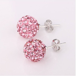 Wholesale Shinny mm Crystal Disco Ball Beads Studs pairs Mix Colors New Fashion silver Earrings