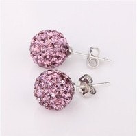 Wholesale Top Sale Shining Disco Crystal Beads Ball Studs pairs Fashion silver Earrings