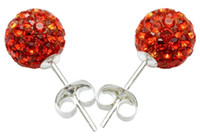 Wholesale Fashion Jewelry Shinny mm Disco Crystal Beads Studs Mix Colors pairs silver Earrings