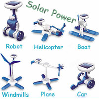 Wholesale 10 sets in Blue White Plastic DIY Assemble Solar Powered Kit Educational Solar Toy