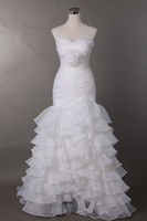 Graceful Layered Sweetheart Organza Watteau Mermaid Trumpet ...